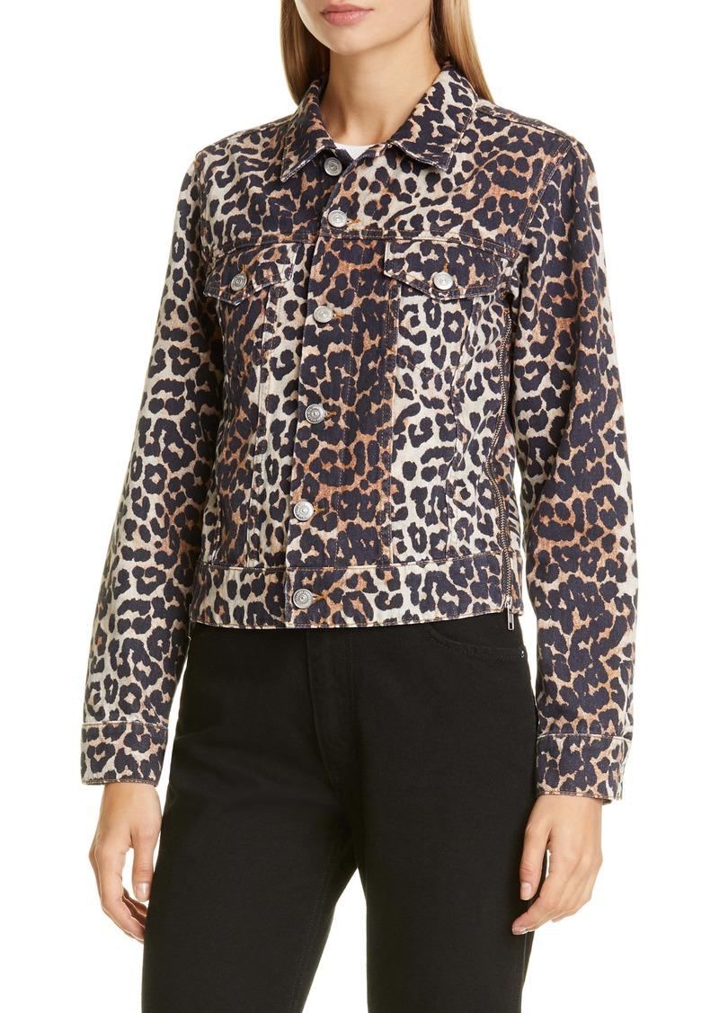 Ganni Leopard Print Side Zip Denim Jacket