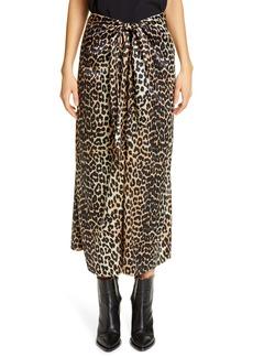Ganni Leopard Print Silk Satin Midi Skirt