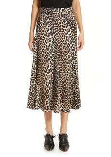 Ganni Leopard Print Stretch Silk Satin Midi Skirt