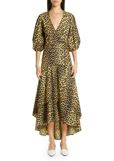 Ganni Leopard Print Cotton Wrap Dress