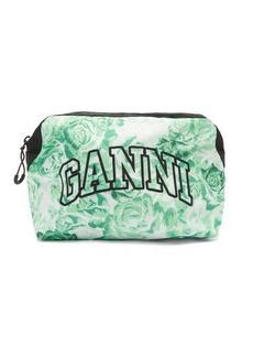 Ganni Logo-embroidered floral-print makeup bag