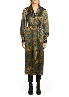 Ganni Logo Print Heavy Satin Coat Dress