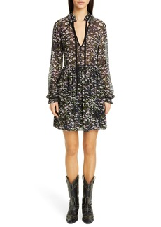 Ganni Long Sleeve Floral Print Georgette Dress