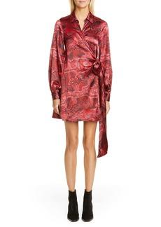 Ganni Long Sleeve Silk Stretch Satin Wrap Dress