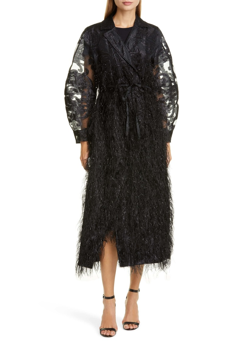 Ganni Metallic Feather Fringe Coat