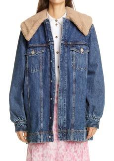 Ganni Oversized Denim Jacket with Removable Fleece Collar