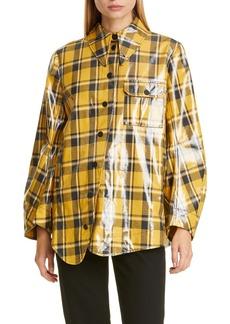 Ganni Plaid Coated Twill Shirt Jacket