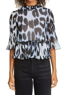 Ganni Pleated Georgette Blouse (Nordstrom Exclusive)