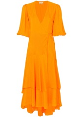 Ganni ganni pleated wrap dress   yellow  orange abv4ae84d1d a