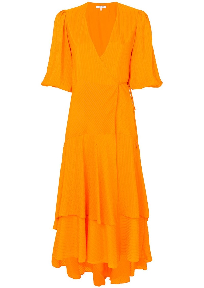 Ganni pleated wrap dress