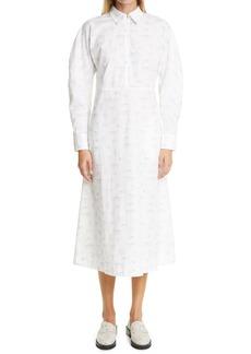 Ganni Print Long SleeveOrganic Cotton Poplin Midi Dress