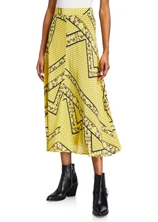 Ganni Printed Viscose-Silk Paneled Midi Skirt