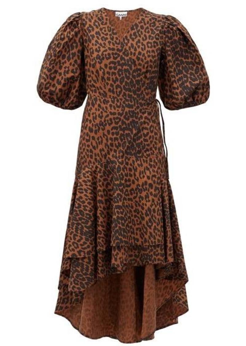Ganni Puff-sleeve leopard-print cotton wrap dress