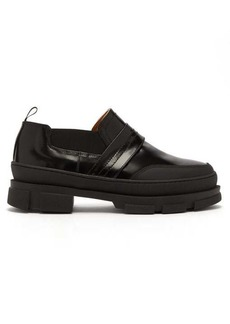 Ganni Raised-sole leather loafers