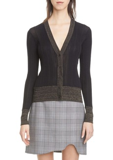 Ganni Rib Cotton Blend Cardigan