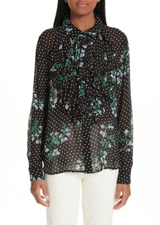 Ganni Rometty Floral Georgette Top
