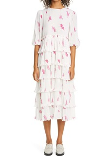 Ganni Rose Print Pleated Georgette Midi Dress (Nordstrom Exclusive)