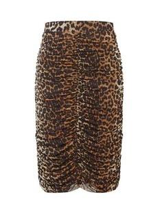 Ganni Ruched leopard-print pencil skirt
