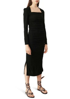 Ganni Ruched Long Sleeve Midi Dress