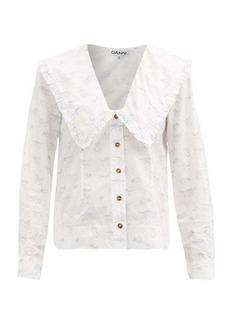 Ganni Ruffled-collar kitten-print poplin blouse