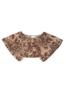 Ganni Ruffled floral-print organic-cotton poplin collar