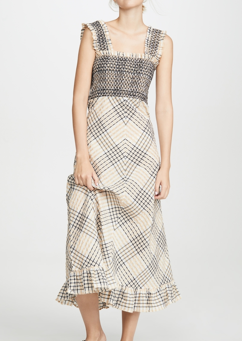 Ganni Ganni Seersucker Check Maxi Dress Dresses
