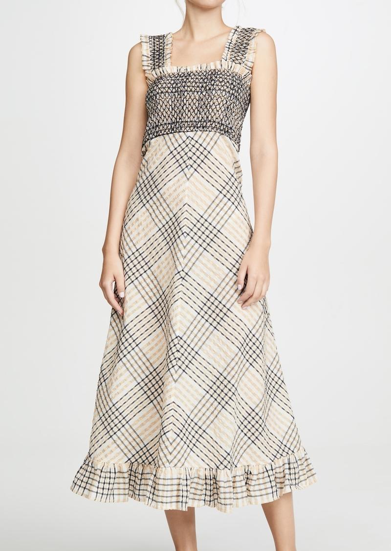 Ganni Ganni Seersucker Check Maxi Dress Dresses
