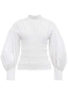 Ganni Shirred cotton-poplin blouse
