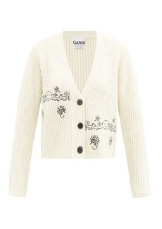 Ganni Smiling face-embroidered wool-blend cardigan
