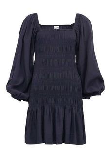 Ganni Square-neck shirred ripstop mini dress