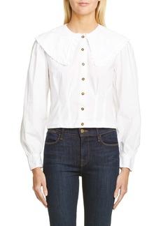 Ganni Statement Collar Poplin Shirt