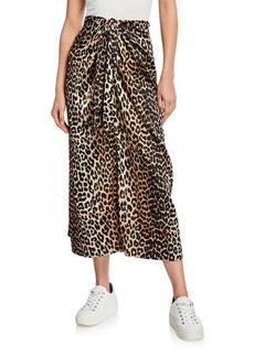 Ganni Stretch Satin Leopard-Print Long Sarong Skirt