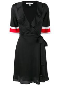 Ganni striped cuff wrap dress