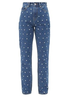 Ganni Studded high-rise straight-leg jeans