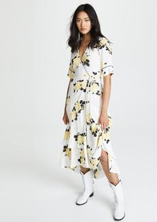 Ganni Tea Length Robe Dress
