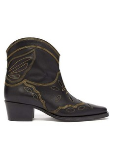 Ganni Texas leather ankle boots