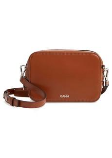 Ganni Textured Leather Camera Crossbody Bag