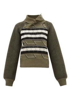 Ganni Tie-neck Fair Isle wool-blend sweater