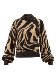 Ganni Tiger-jacquard balloon-sleeve wool-blend sweater