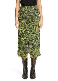 Ganni Tiger Print Denim Midi Skirt