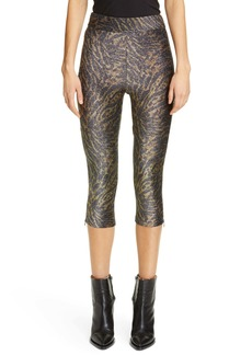 Ganni Tiger Print Metallic Jersey Crop Pants