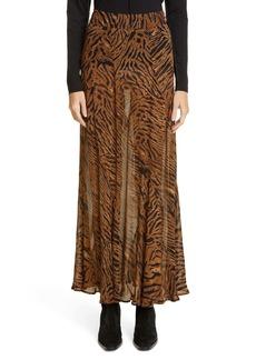Ganni Tiger Print Sheer Georgette Maxi Skirt