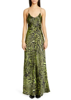 Ganni Tiger Print Silk Satin Gown