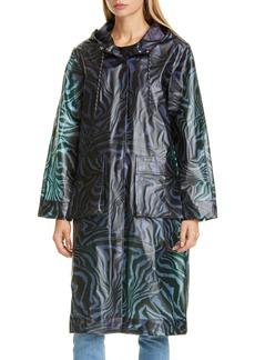 Ganni Tiger Print Water Repellent Biodegradable Raincoat