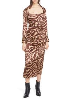 Ganni Tiger Stripe Stretch Silk Long Sleeve Silk Midi Dress