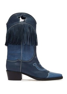 Ganni Tove fringed leather western boots