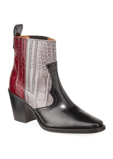 Ganni TriColor Croc-Embossed Leather Western Boots