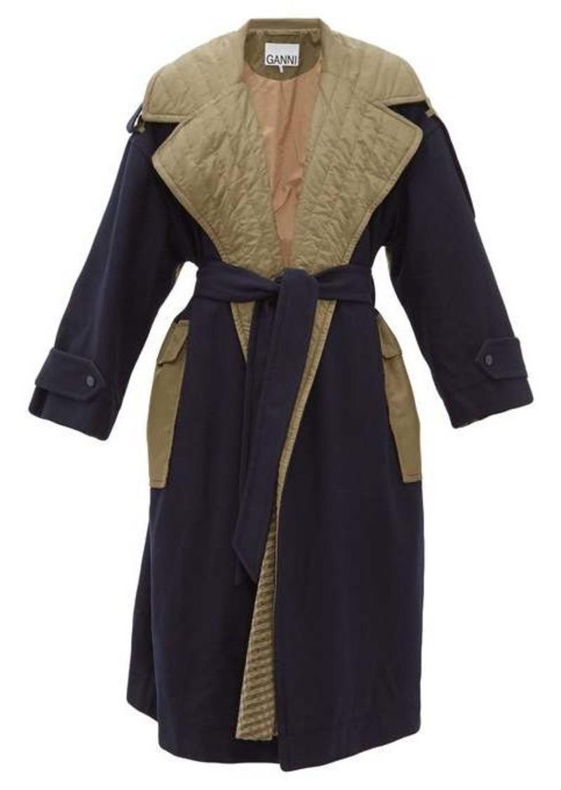 Ganni Two-tone belted wool-blend coat