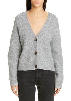 Ganni V-Neck Wool Blend Cardigan