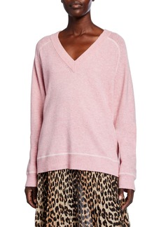 Ganni V-Neck Wool Pullover Sweater